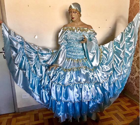 Conjunto Completo Cigana Azul Com Moedas Saia 12mts De Roda