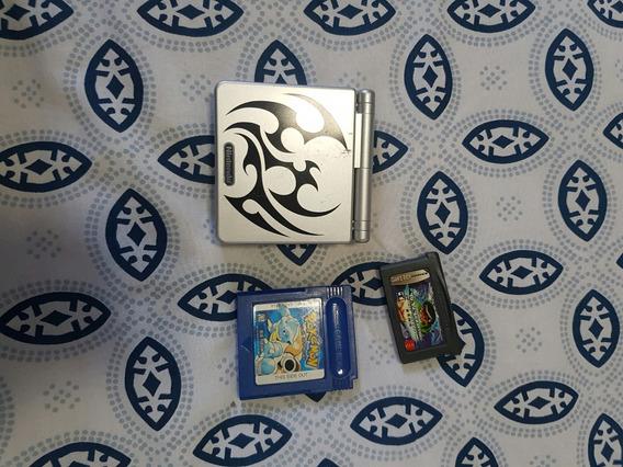 Gameboy Advance Sp Tribal - Jogo Do Pokemon Blue E Yuyu Haku