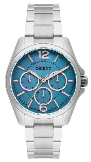 Relógio Orient Feminino Prata Fundo Azul Fbssm032 G2sx