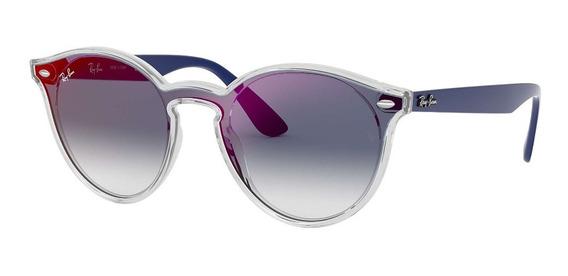 Óculos De Sol Ray Ban Blaze Round Rb4380 Azul Degradê Original