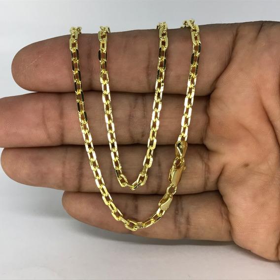 Corrente Kartier Cordão Cadeado 4mm 70cm Folheado A Ouro 18k