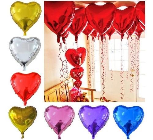 Globo Metalizado Corazón 18 Pulgadas Varios Colores Pack 2