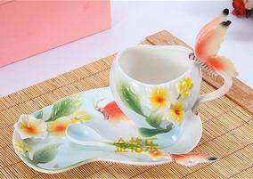 Xícara Porcelana Chinesa Café Chá Borboleta Flor - 1 Unidade