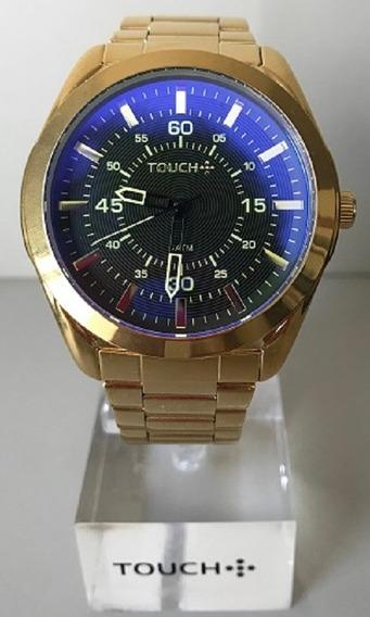 Relógio Masculino Touch Dourado Com Vidro Marrom