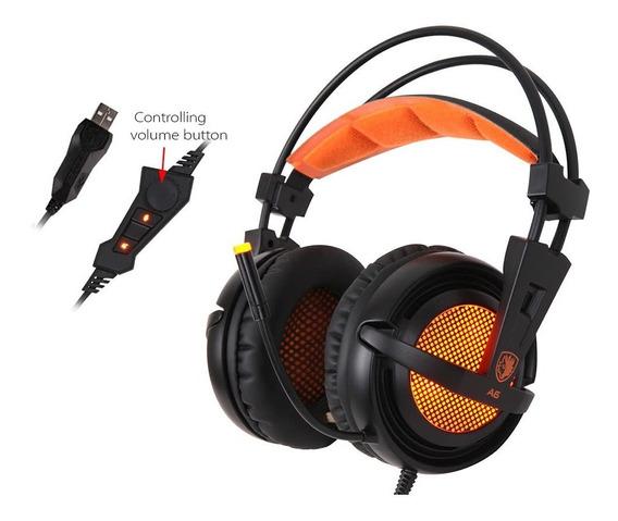Sades A6 Gaming Headphone Preto Com Laranja