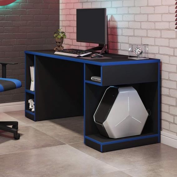 Mesa Gamer Pro 5 Nichos Siena Móveis Preto/azul Hd