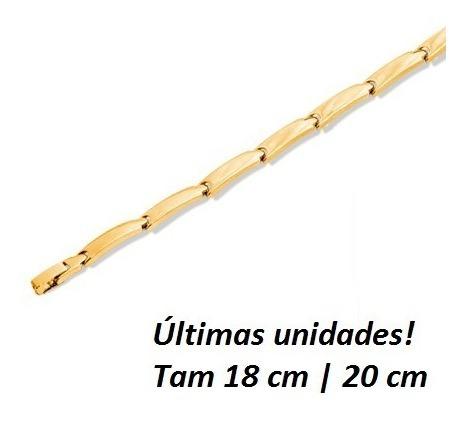 Pulseira Masculina Rommanel 550487 Folheada Ouro Promoção!