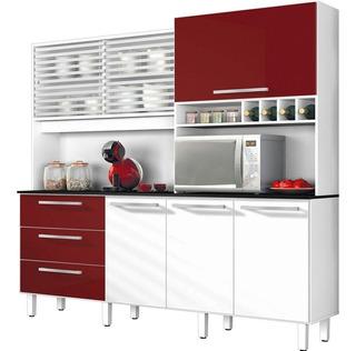 Armário De Cozinha 6 Portas 3 Gavetas Mega Branco /bordo- Za
