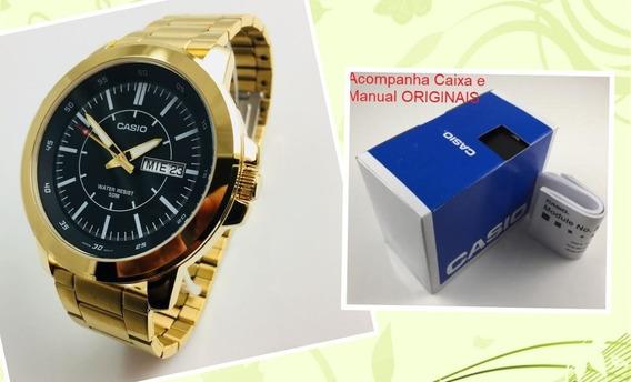 Relógio Dourado Pulseira De Aço 50 Mm Casio Mtpx100g-1ev