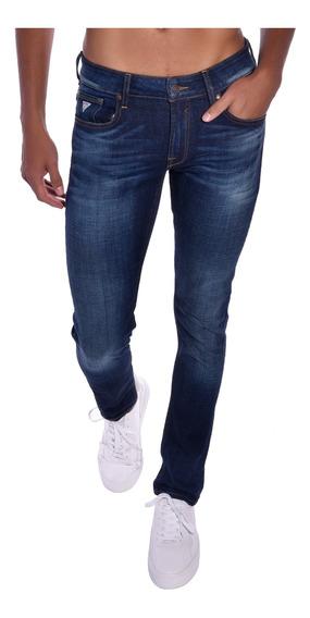 Pantalón Skinny Guess Azul Mb1an221kd0 Hombre