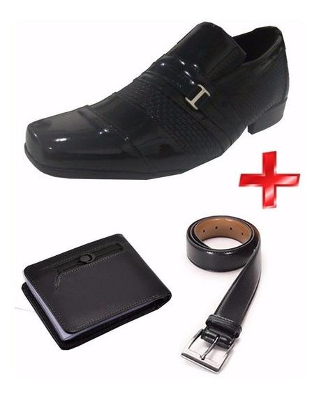 Sapato Social Esport Fino Verniz Cinto Carteira Frete Gratis