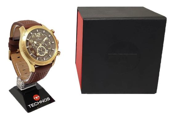 Relógio Cronógrafo Technos Js25bg/0m Pulseira De Couro