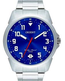 Relógio Orient Masculino Prata Azul Original Mbss1154a D2sx