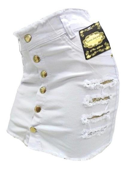 Mini Saia Botoes Jeans Curta Plus Size Tamanhos Grandes