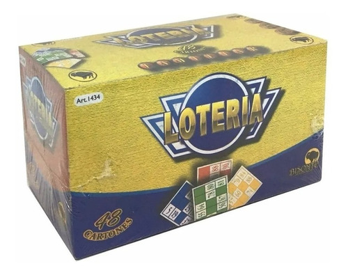 Juego Lotería Familiar Bisonte 96 Cartones Fichas Madera