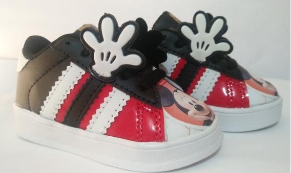Tenis Mickey Mouse Con Manitas Con Agujeta/latigo En Velcro