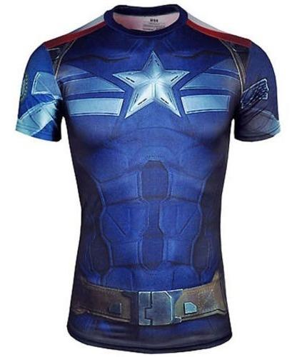 Camisa Camiseta Capitão América Compressão 3d Super Heróis