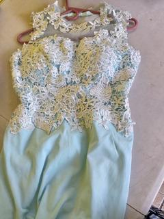 Vestido De Gala Largo, Lindo, En Color Celeste.
