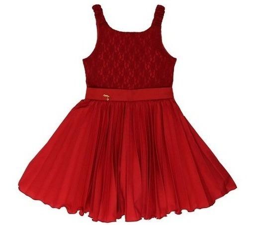 Vestido Infantil Tam: 6 Ao 12 Plissado Vermelho Katitus 1341