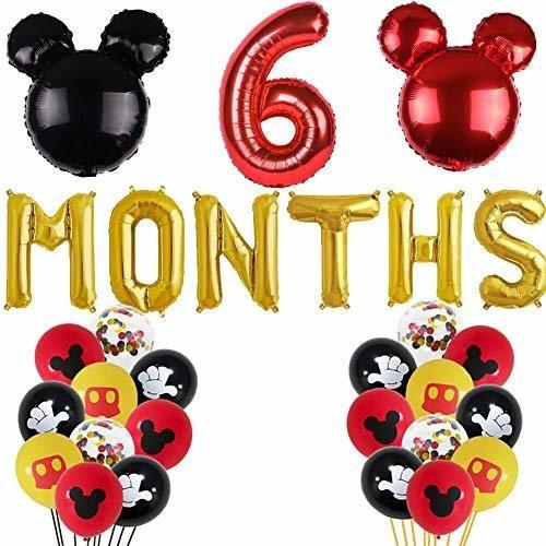 Imagen 1 de 6 de Mickey Mouse Seis Meses Globos Rojo Y Negro Inspirado En Mic