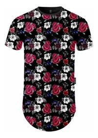 Camiseta Longline Masculina Estampada Floral