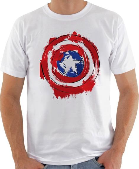 Camiseta Unissex - Capitão America Aquarela Escudo-622