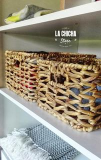 Cajon Grande Organizador Tipo Cesta Bambu Junco