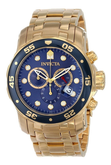 Relógio Invicta Pro Diver 0073 Banhado A Ouro 18k Azul