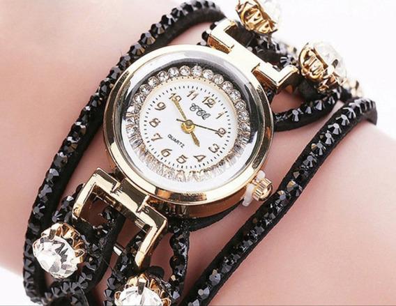 Relógio Feminino Com Detalhes Em Strass Barato