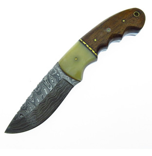 Dm1144 Dm Cuchillo De Caceria Hunter Acero Damasco Con Fda