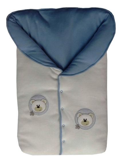 Saco Dormir Menino Plush+suedine Ursos Marfim/azul Bebê