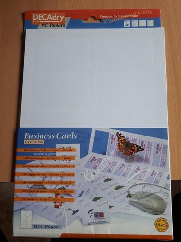 12 Hojas X 10 Tarjetas Para Imprimir Importado De Bélgica