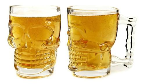 Imagen 1 de 6 de Juego De 2 Tarros Cerveceros Vidrio Cráneo Calavera 500 Ml