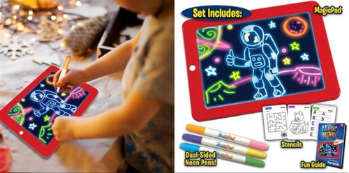 Tableta De Dibujo Con Luz Led Magic Pad 3 Marcadores Gratis