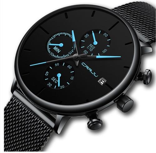 Relógio Crrju 2268. Cronógrafo E Calendário. Azul