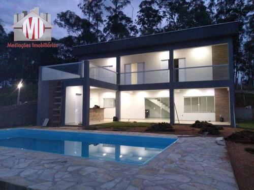 Linda Chácara Com 3 Dormitórios, Piscina, Jardim, Bairro Estruturado, À Venda, 1120 M² Por R$ 650.000 - Rural - Socorro/sp - Ch0914