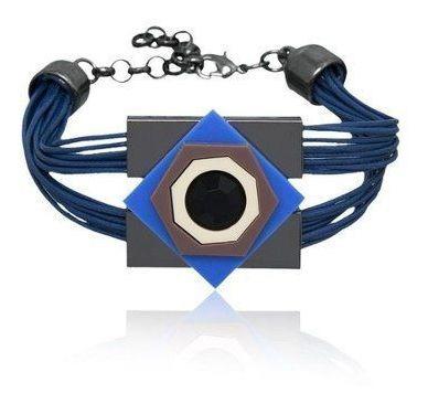Pulseira Le Diamond Couro Azul