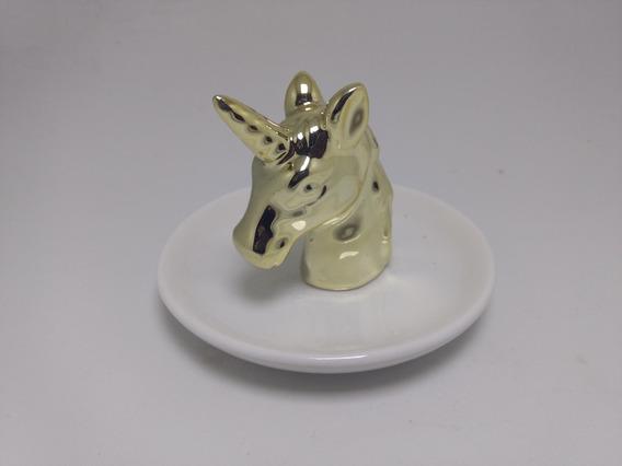 Porta Jóias Unicórnio Dourado Organizador De Anéis