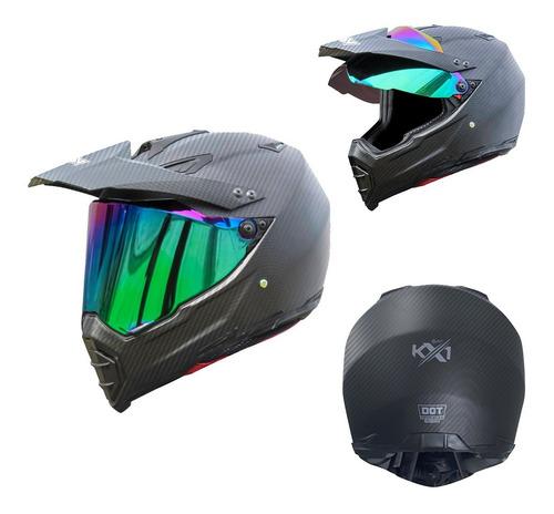 Imagen 1 de 7 de Casco Para Moto Kov Kx1 Carbono Negro Doble Propósito Dot