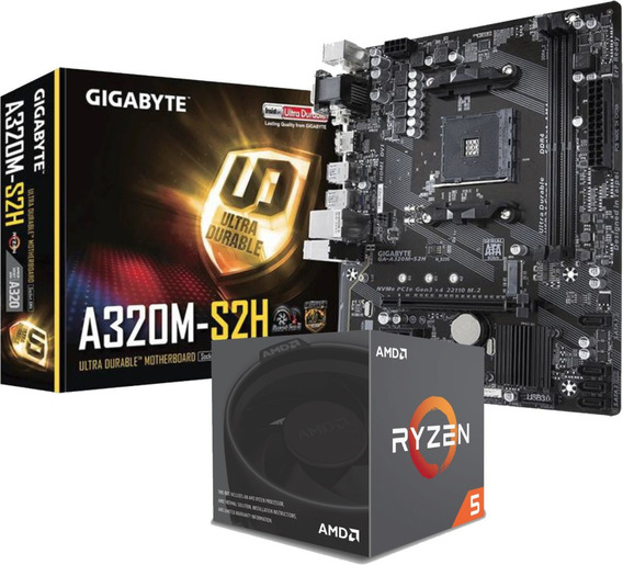 Kit Processador Amd Ryzen 5 2600x Ga A320m-s2h 2ª Geração
