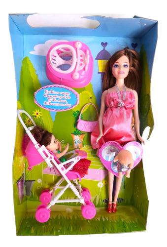 Imagen 1 de 9 de Muñeca Embarazada Belle Carrito Bebe 30cm Pce 6365 Bigshop