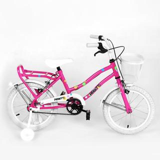 Bicicleta Rodado 16 Nena Peretti Rueditas Canasto Portamuñec