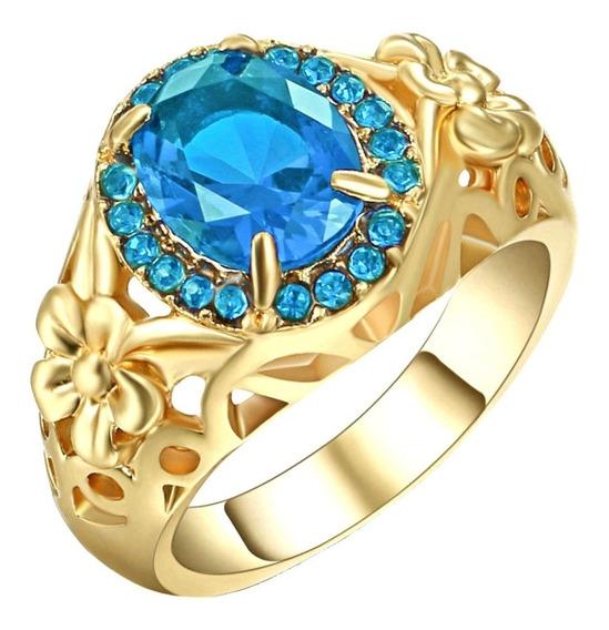 Anel Feminino Flor Cristal Água Marinha Azul 57 P