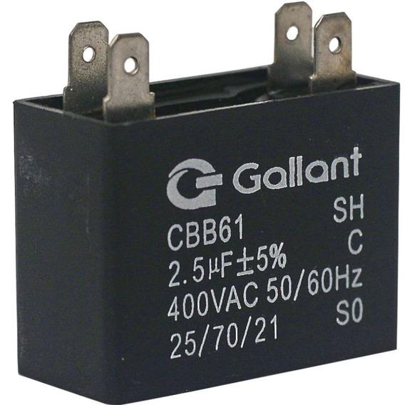Capacitor Cbb61 Gallant 2,5mf +-5% 400 Vac Gcp25s00a-pt400