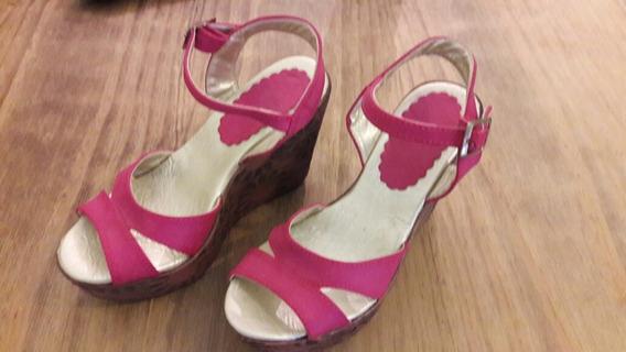 Suecos N° 35/36 Color Rosa Con Suela Simil Corcho Tallado.