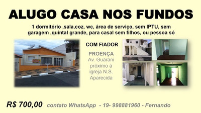 Alugo Casa De Fundos Jd. Proença Direto Com Proprietário