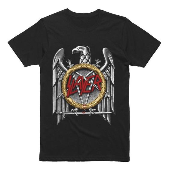 Camiseta O Playera Slayer Aguila Logo Plateada