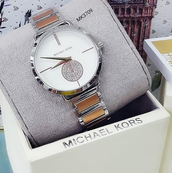 Relógio Michael Kors Mk3709 Prata Cravejado Fem - Portia
