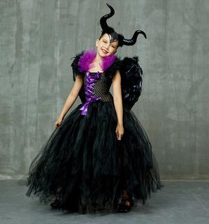Fantasia Infantil Malévola A Dona Do Mal Bruxa Má Halloween