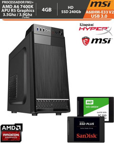 Pc Amd Basic A68hm-e33 A6 7400k 3.9ghz R5 Ddr3 4gb Ssd 240gb